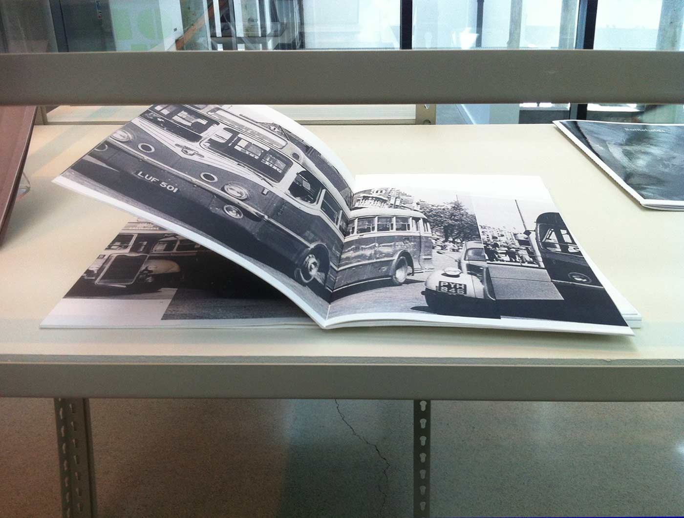 paula roush: bus-spotting + a story , exhibition views, KHIO LIBRARY, Oslo National Academy of the Arts, Oslo