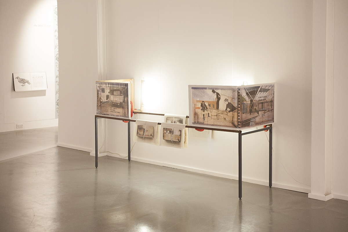 paula roush: Participatory architectures (how to build your own living structures), installation view, Herbert Read Gallery, Canterbury