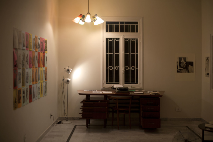 paula roush: Torn folded curled (Today), exhibition view, Makan/PlanBEY, Beirut