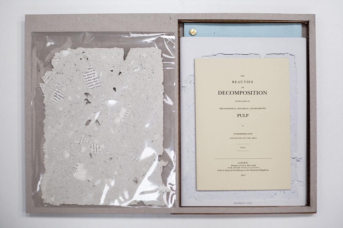 Unique handmade paper specimen 24x19cm +  Laser printed books, foreground: Decomposition, colour 21x15cm