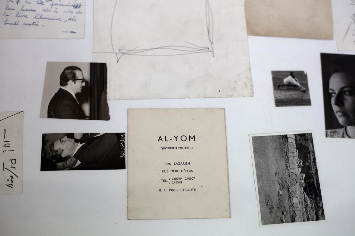 paula roush: Torn folded curled (Al-Yom), exhibition view, Arab Image Foundation, Beirut